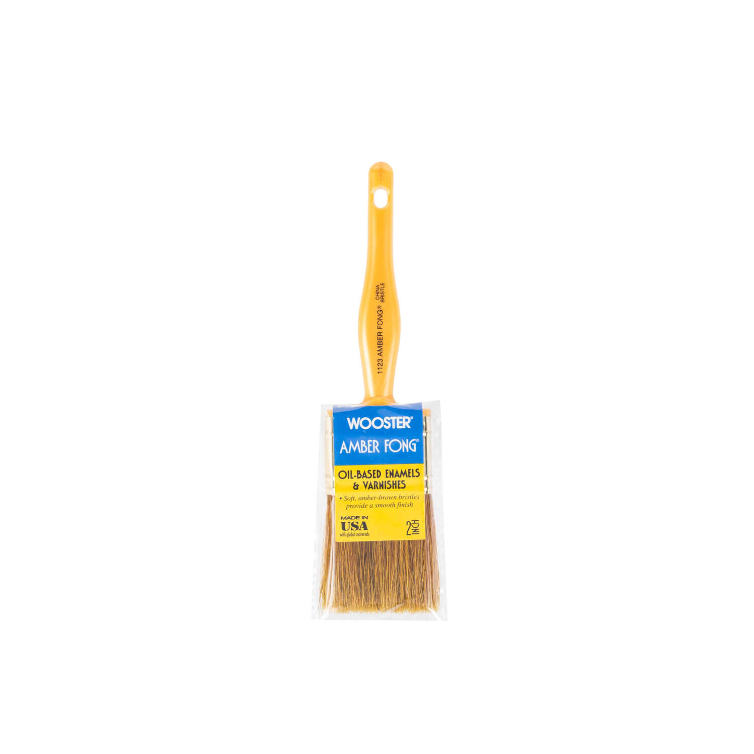 Wooster  Amber Fong  2 in. W Flat  Brown China Bristle  Paint Brush