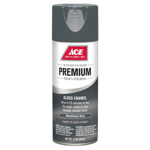 Ace  Premium  Gloss  Machinery Gray  Enamel Spray Paint  12 oz.