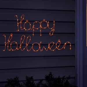 Celebrations  Happy Halloween Window Sign  Lighted orange  Halloween Lights  1 in. W x 22 in. L 1 pk