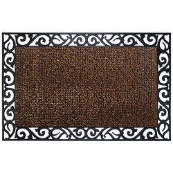 GrassWorx  Wrought Iron Stems and Leaves Style  Brown  Polyethylene/Rubber  Nonslip Door Mat  36 in.