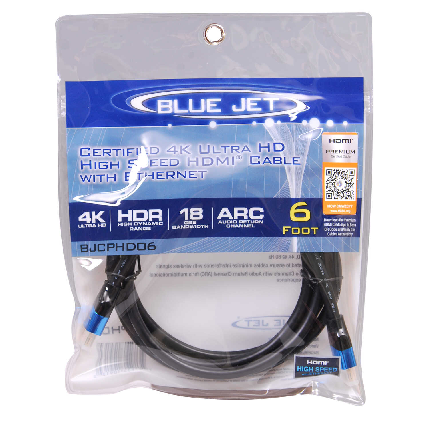 Blue Jet  6 ft. L High Speed Cable with Ethernet  HDMI
