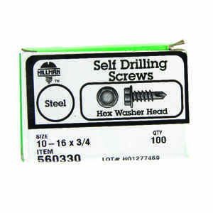 Hillman  10-16 in.  x 3/4 in. L Hex Washer Head Zinc-Plated  Steel  Self- Drilling Screws  100  1 pk