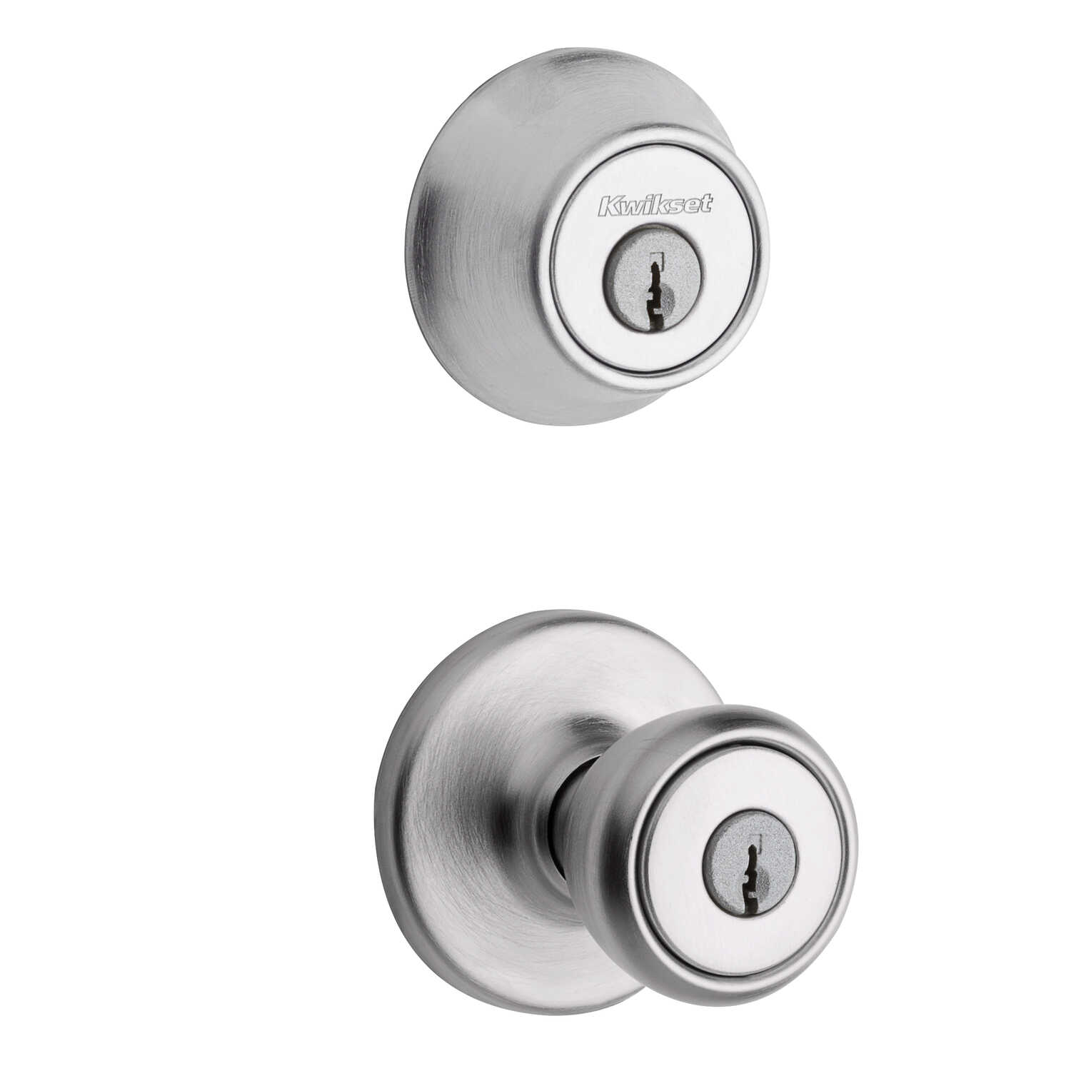 Kwikset  Tylo  Satin Chrome  Steel  Entry Lock and Single Cylinder Deadbolt  ANSI/BHMA Grade 3  1-3/