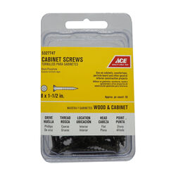 Ace  No. 8   x 1-1/2 in. L Phillips  Black Phosphate  Cabinet Screws  50 pk
