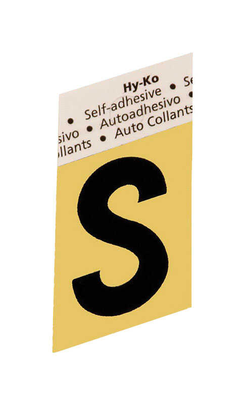 Hy-Ko  1-1/2 in. Aluminum  S  Letter  Self-Adhesive  Black