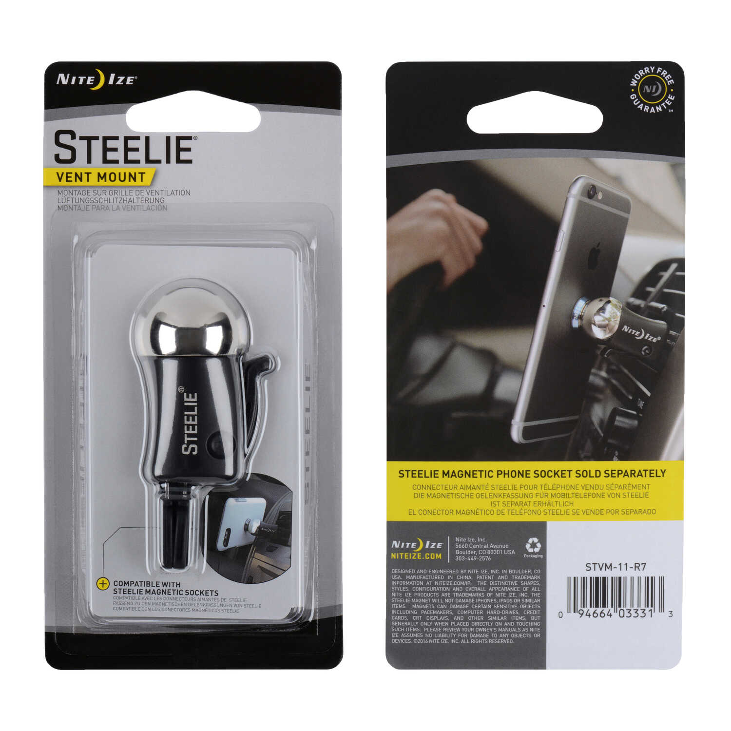 Nite Ize  Steelie  Black/Silver  Cell Phone Car Vent Mount  Universal