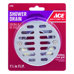 Ace  1-1/2 in. Dia. Stainless Steel  Shower Drain