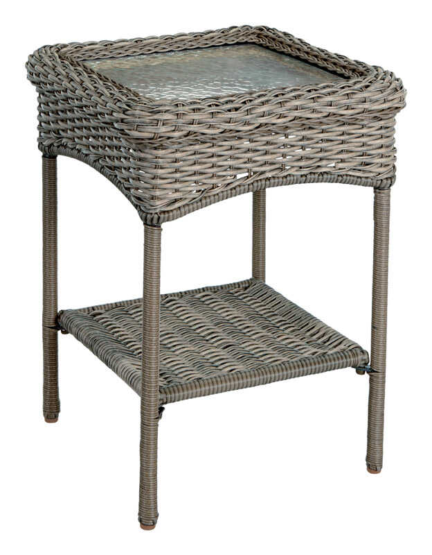 Living Accents  Gray  Rectangular  Glass  End Table