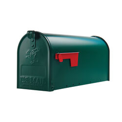 Gibraltar Mailboxes Elite Classic Galvanized Steel Post Mount Green Mailbox