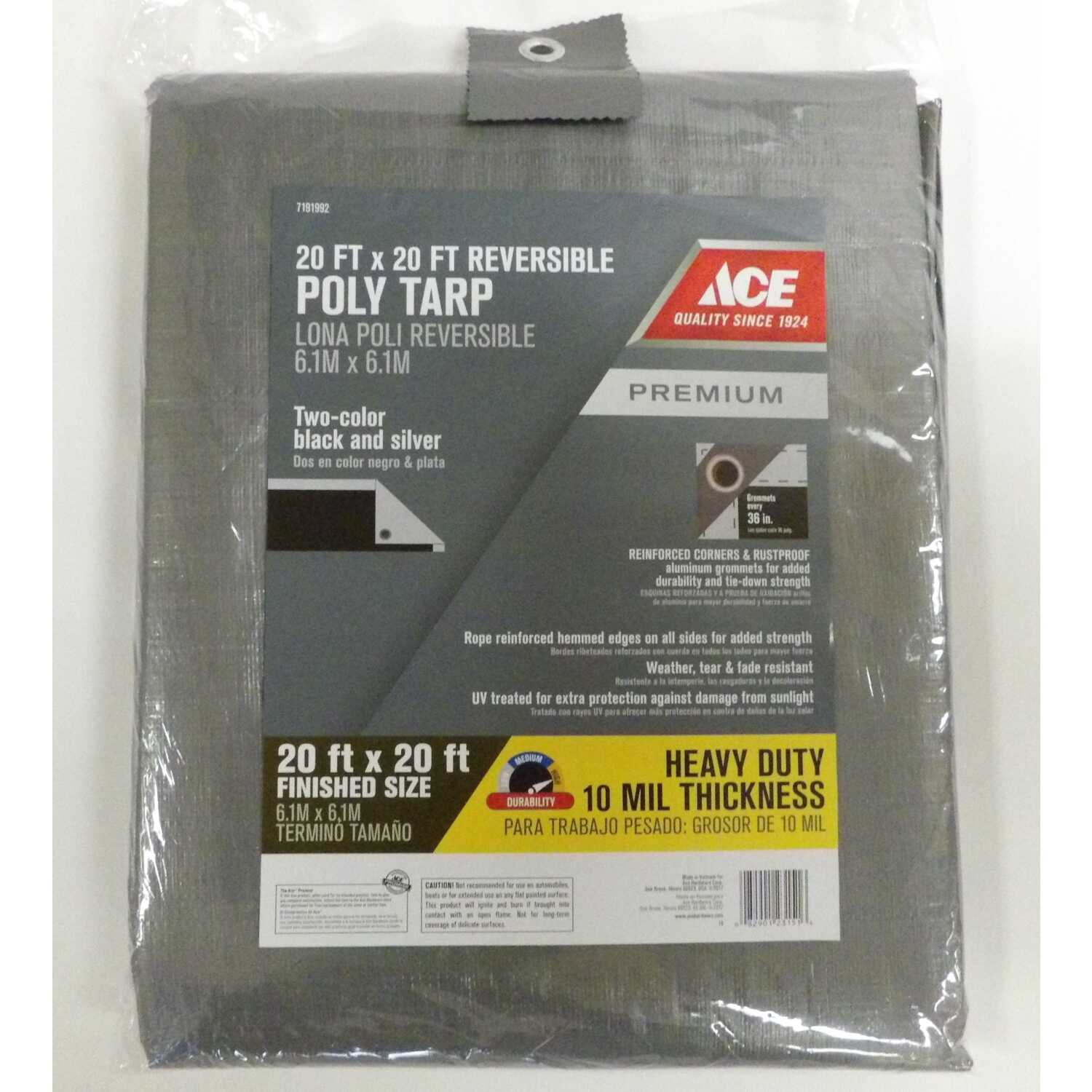 Ace  20 ft. W x 20 ft. L Heavy Duty  Polyethylene  Tarp  Black/Silver