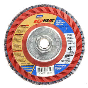 Norton  Red Heat  4-1/2 in. Dia. Ceramic  Flap Disc  40 Grit Extra Coarse  5/8 in.-11  13300 rpm 1 p