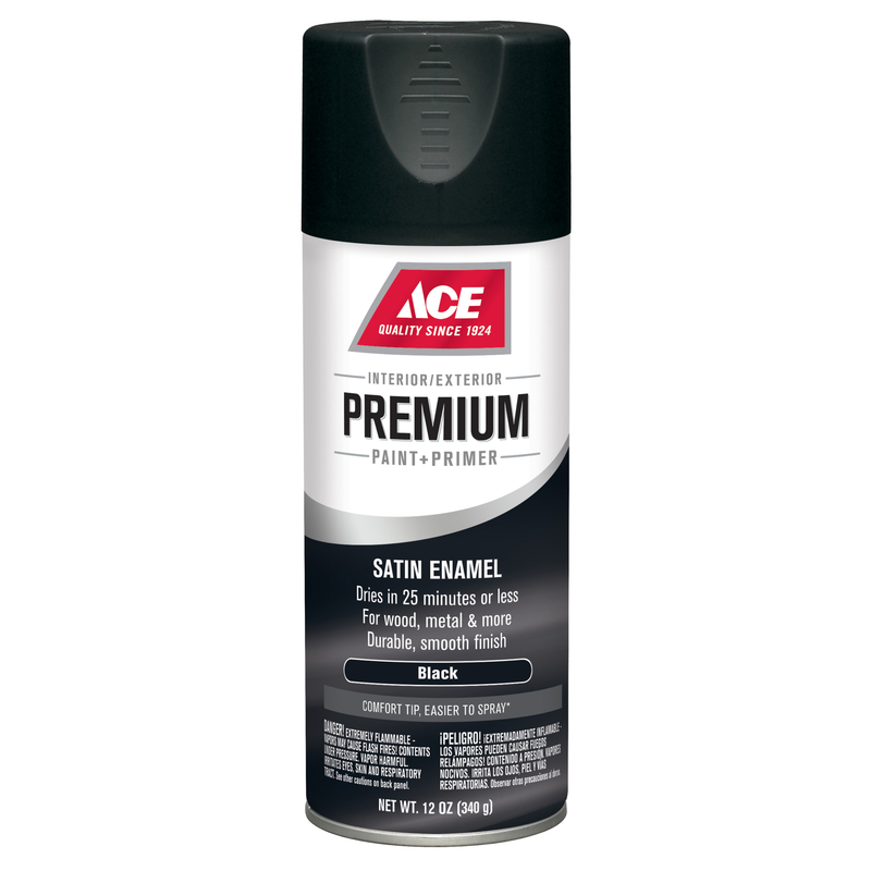 Ace  Premium  Satin  Black  12 oz. Enamel Spray Paint