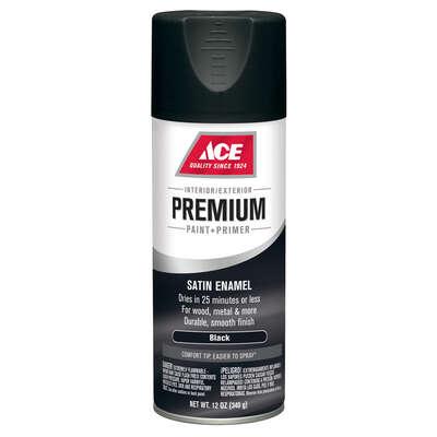 Ace Premium Satin Black Enamel Spray Paint 12 Oz Ace Hardware