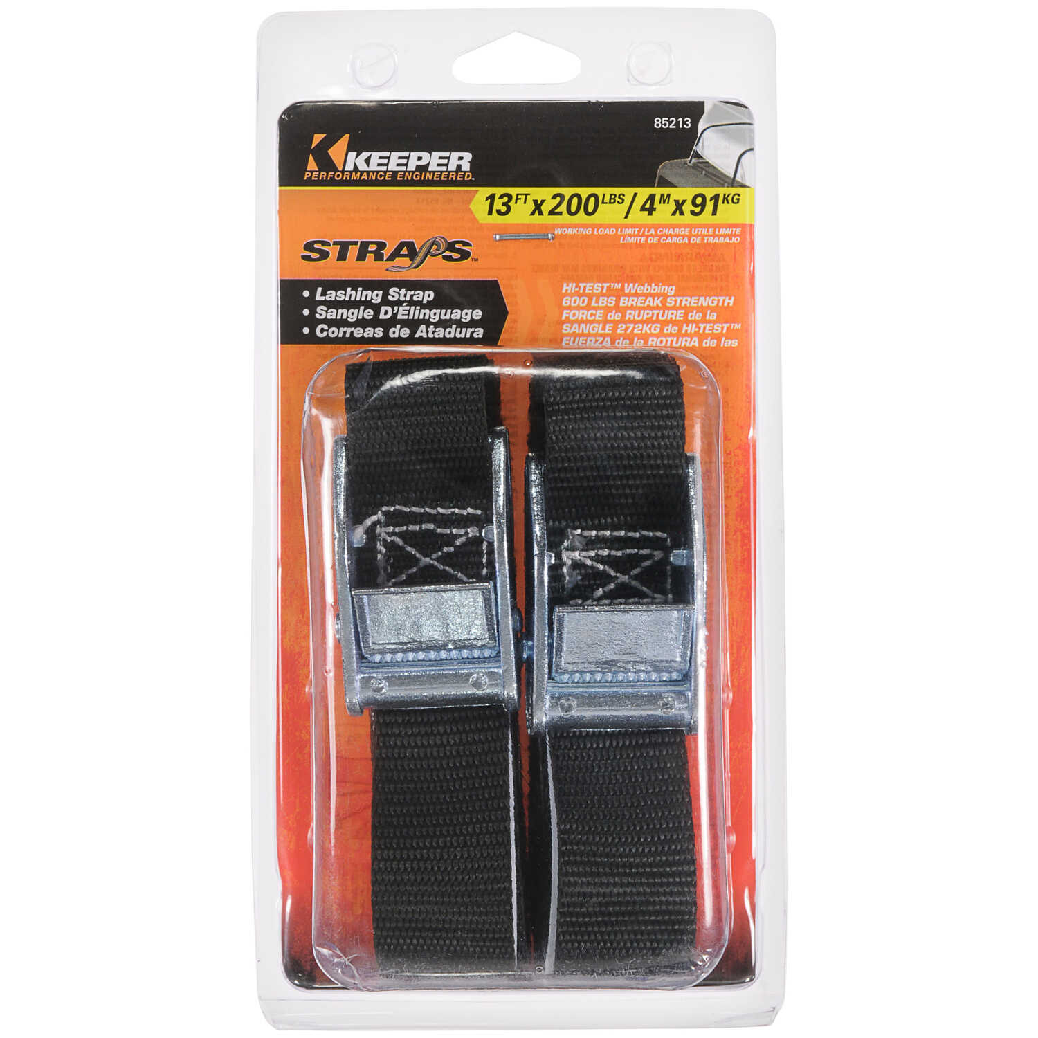Keeper  1 in. W x 13 ft. L Black  Lashing Strap  200 lb. 1 pk