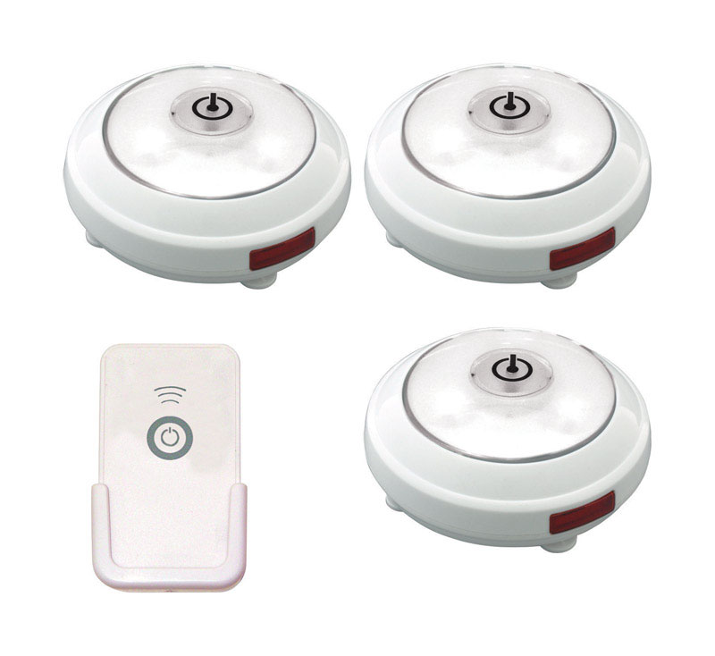 Rite Lite  White  Battery Powered  LED  Puck Light  3 pk