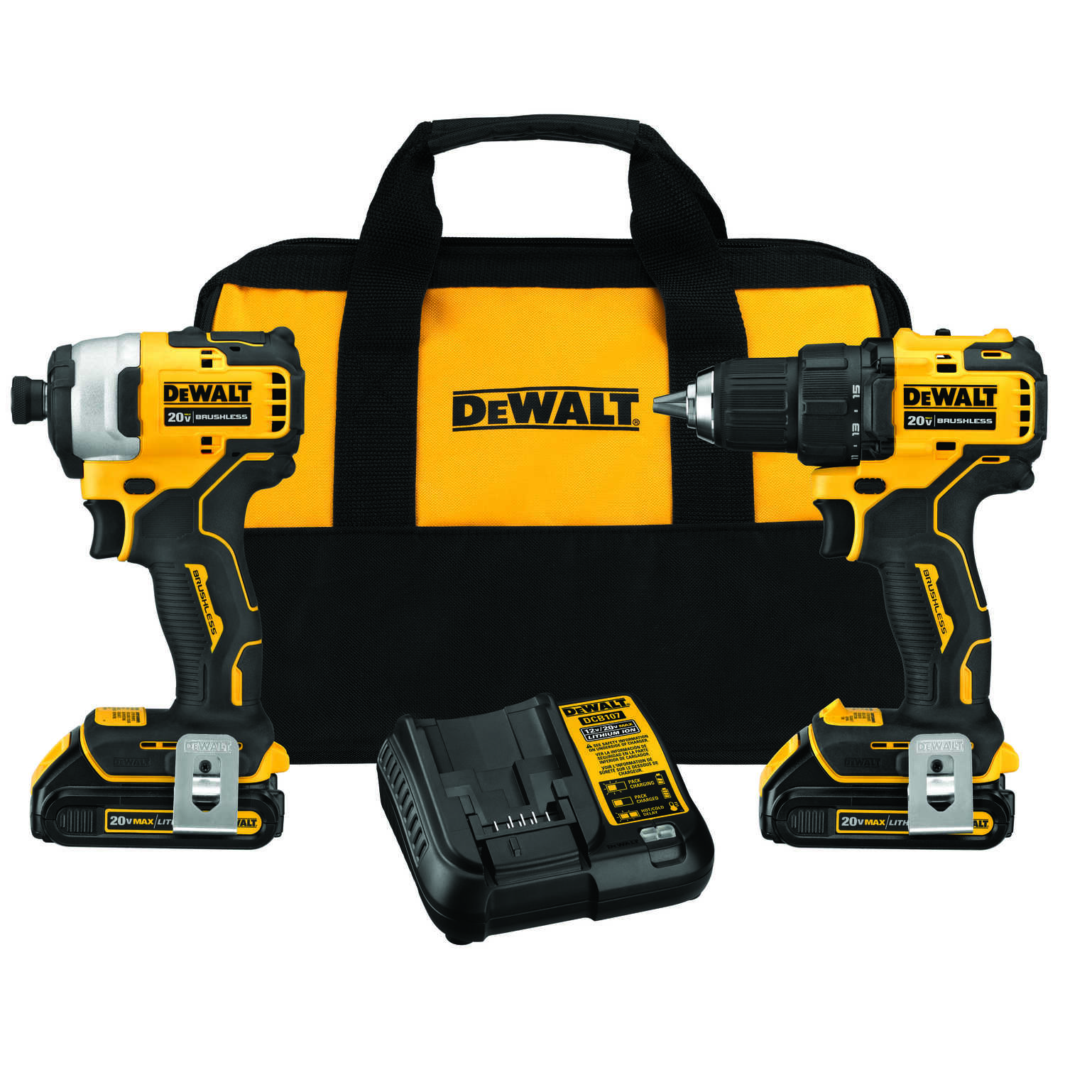 DeWalt  Cordless  Brushless 2 tool Compact Drill and Impact Driver Kit  20 volt