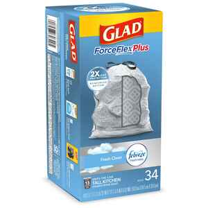 Glad  ForceFlex  13 gal. Trash Bags  Drawstring  34 pk