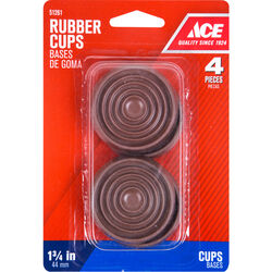 Ace Rubber Caster Cup Brown Round 1-3/4 in. W 4 pk