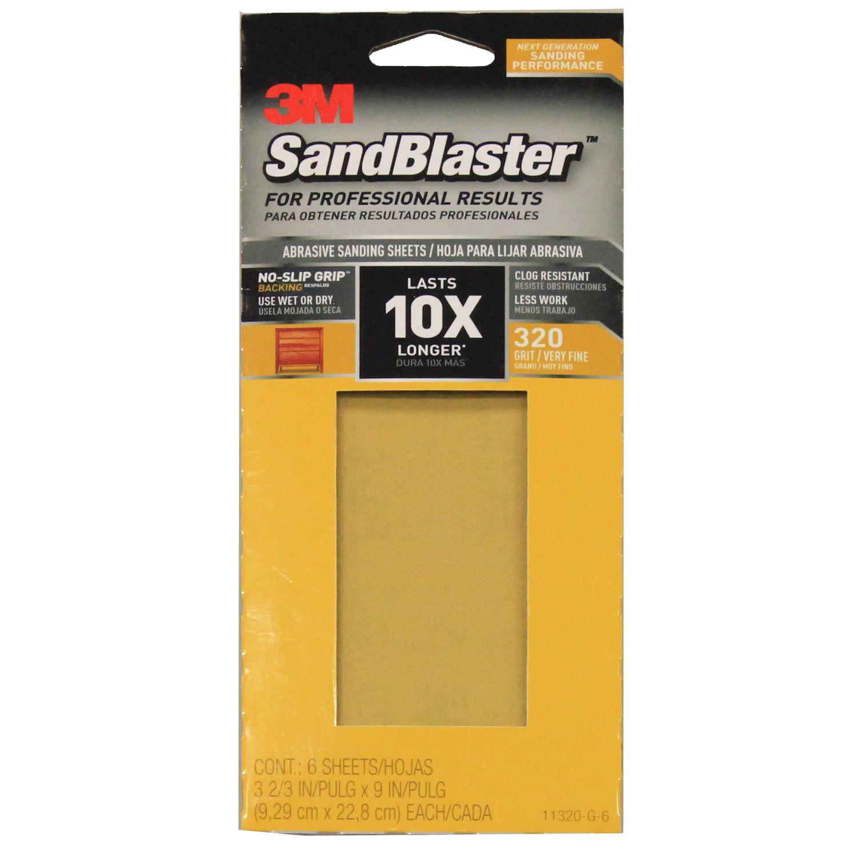 3m sandblaster 9 in  l x 3 3 in  w 320 grit ceramic