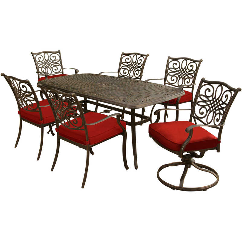 Hanover  7 pc. Brown  Aluminum  Patio Set  Red