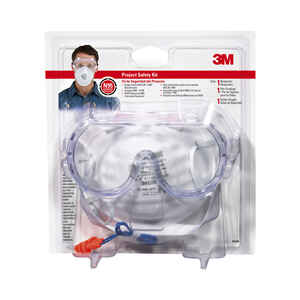3M  Mask And  Safety Glass Kit  Clear Lens Clear Frame 1 pc.