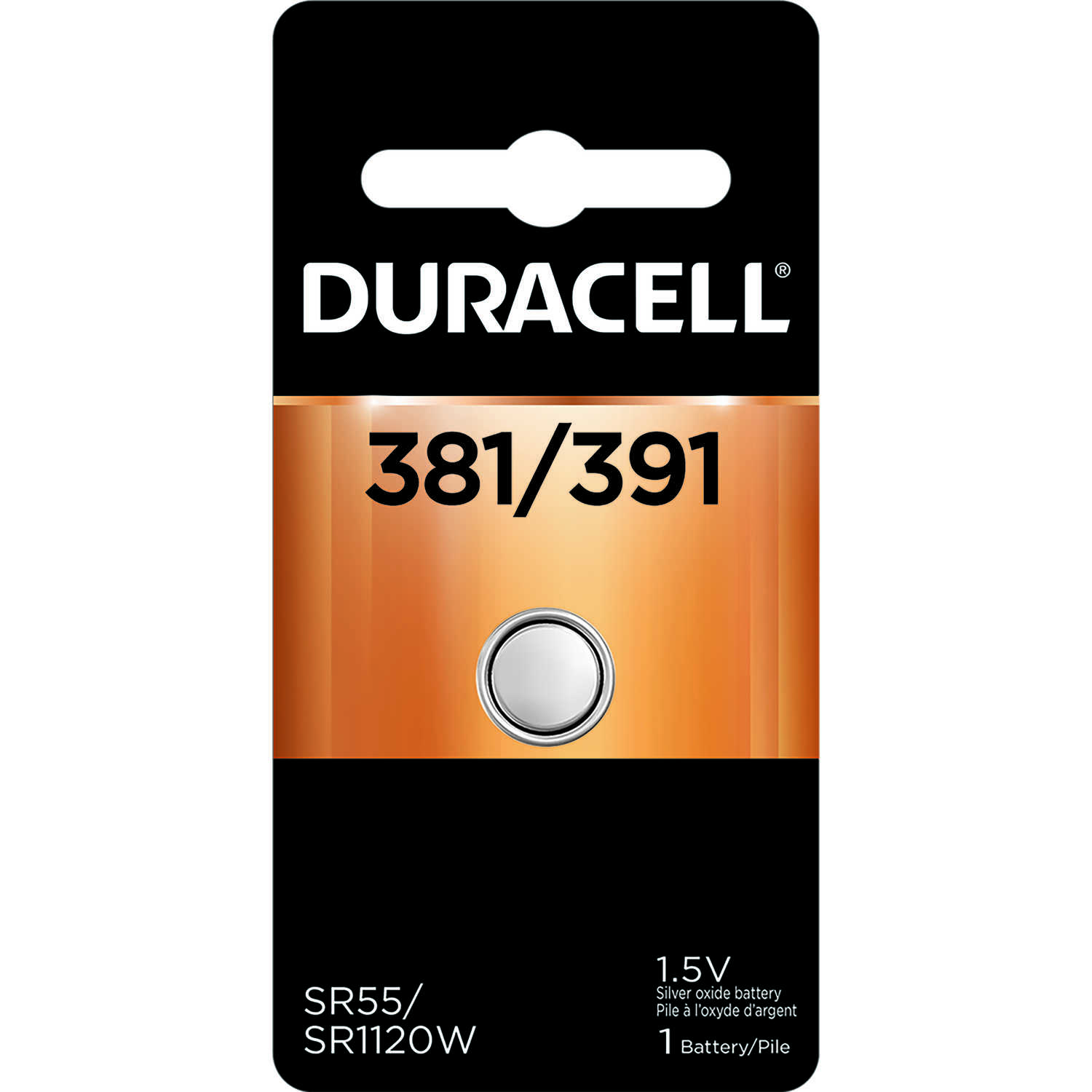 Duracell  Silver Oxide  381/391  1.5 volt 1 pk Electronic/Watch Battery