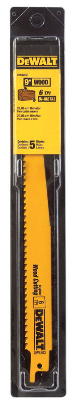 DeWalt  9 in. L x 3/4 in. W Bi-Metal  Reciprocating Saw Blade  5 pk 6 TPI