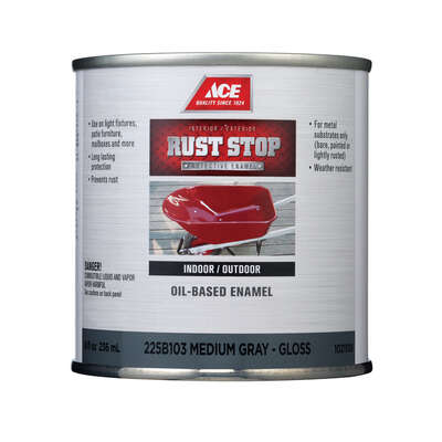 Ace  Rust Stop  Indoor/Outdoor  Gloss  Medium Gray  Oil-Based Enamel  Rust Preventative Paint  1/2 p