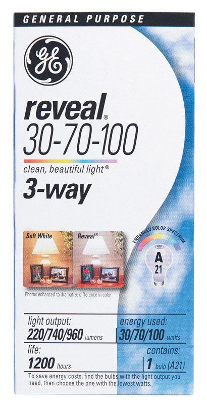 GE Lighting  Reveal  30/70/100 watts A21  Incandescent Bulb  220/740/960 lumens Soft White  1 pk A-L