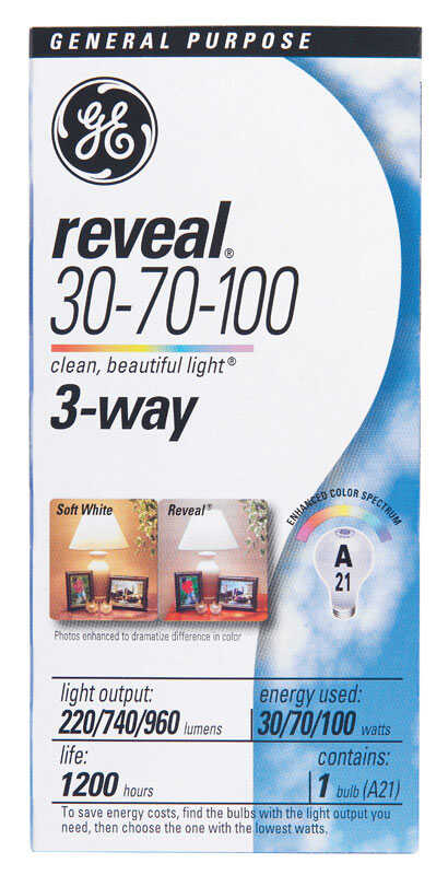 GE  Reveal  30/70/100 watts A21  Incandescent Bulb  220/740/960 lumens Soft White  A-Line  1 pk
