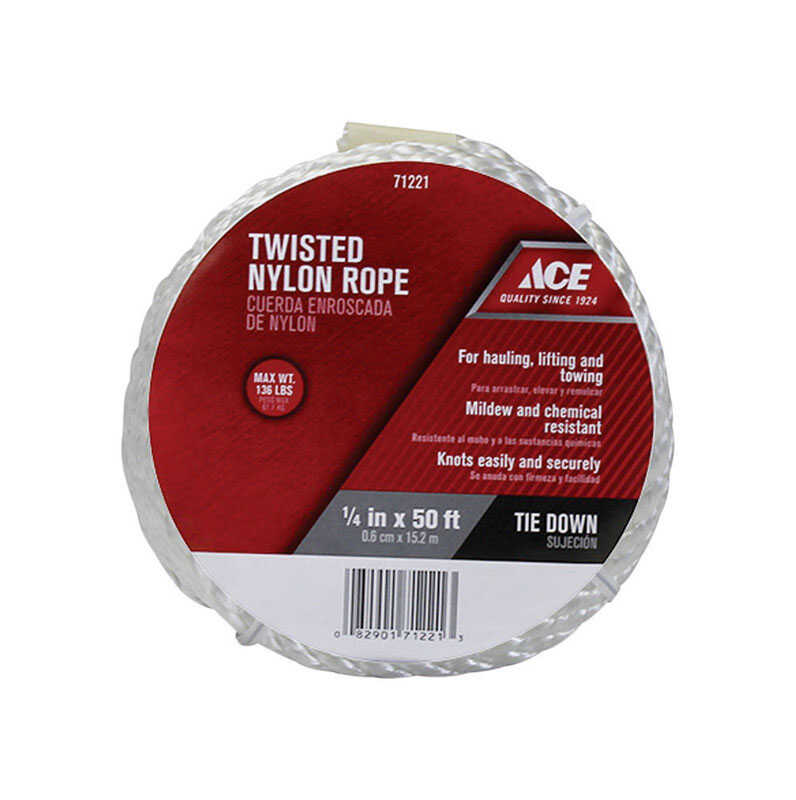Ace  1/4 in. Dia. x 50 ft. L White  Twisted  Nylon  Rope