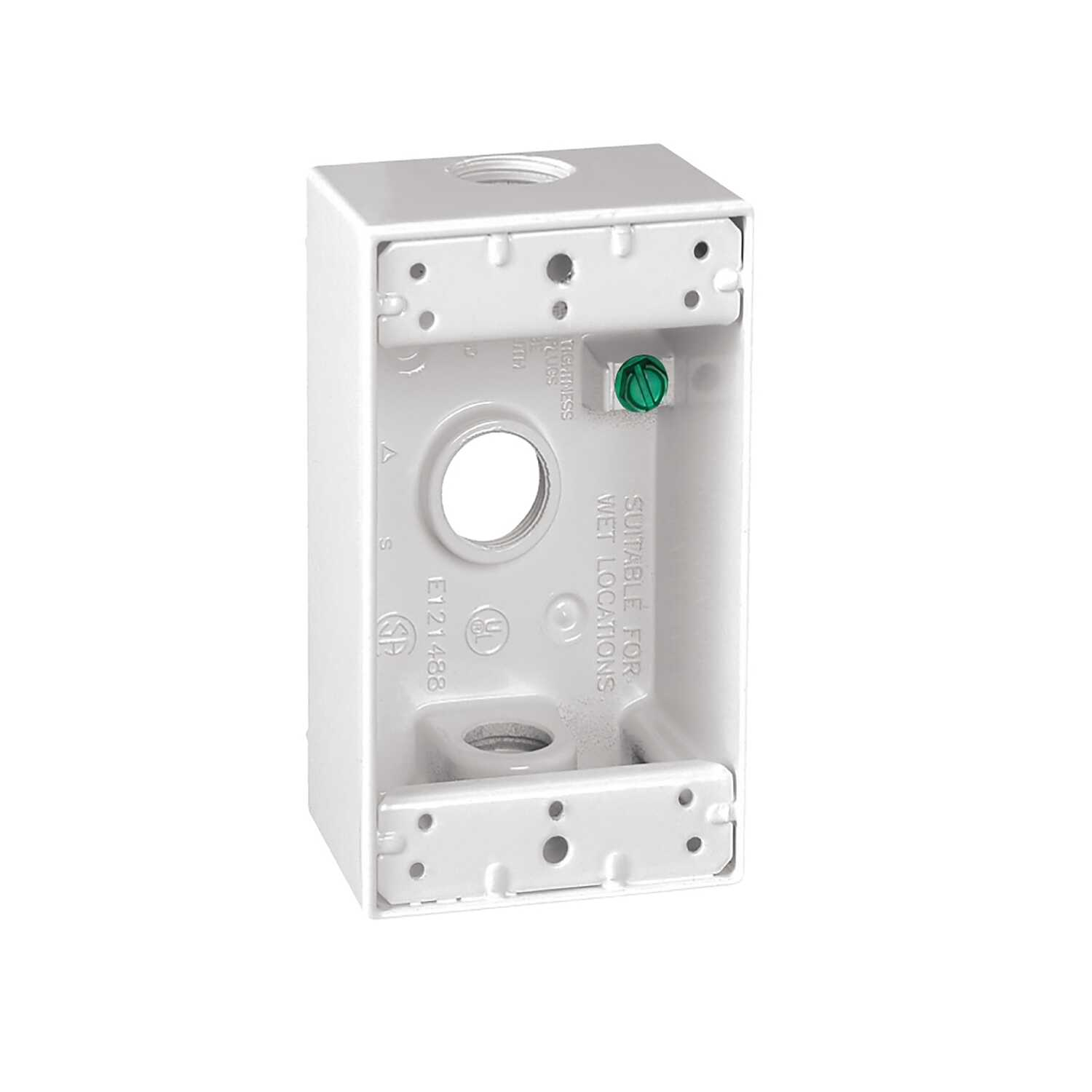 Sigma  4-1/2 in. Rectangle  Aluminum  1 gang 1 Gang  Outlet Box  White