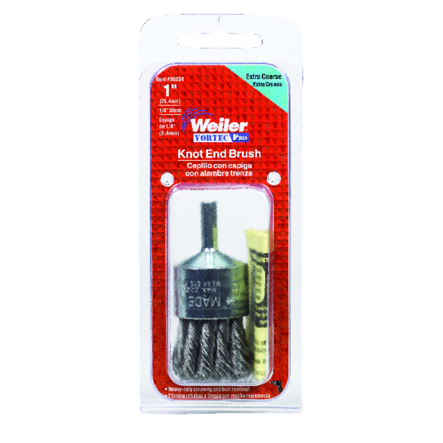 Weiler  Vortec Pro  1 in. Knotted  Wire Wheel Brush  Steel  22000 rpm 1 pc.