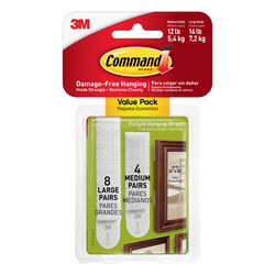 Command White Picture Hanging Strips 24 pk Foam