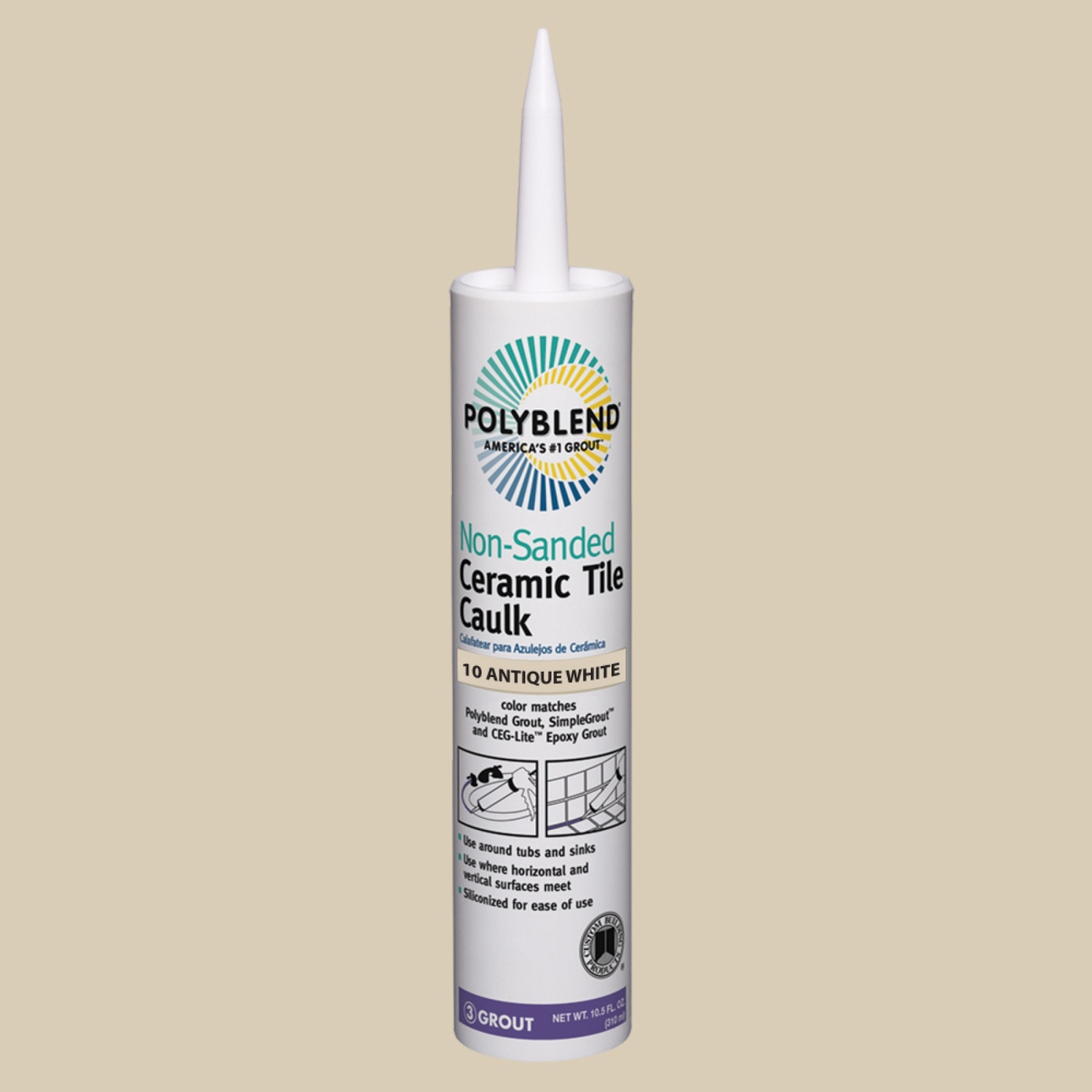 Custom Building Products  Polyblend  Antique White  Siliconized Acrylic  10.5 oz. Caulk