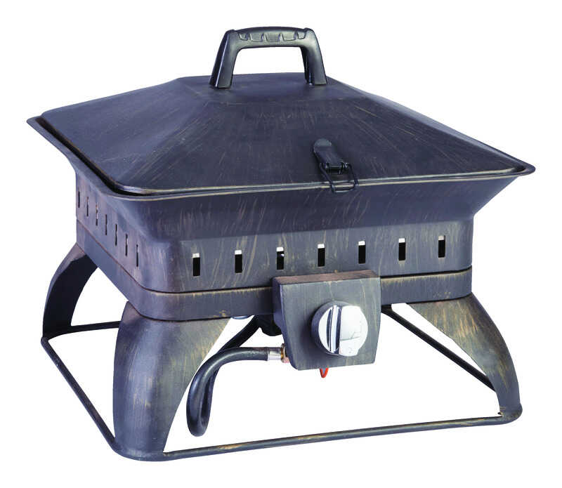 Living Accents  Square Portable  Propane  Fire Pit  14.6 in. H x 18.7 in. W x 18.7 in. D Porcelain/S