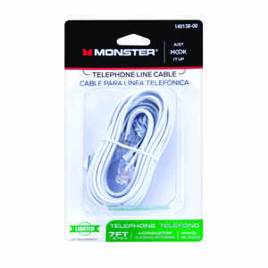 Monster Cable  Just Hook It Up  7 ft. L White  Modular Telephone Line Cable