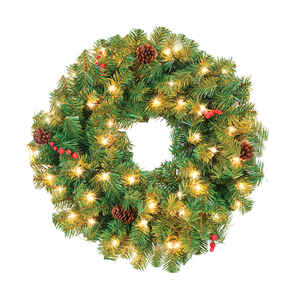 Celebrations  Prelit Green  Wreath  24 in. Dia. Clear