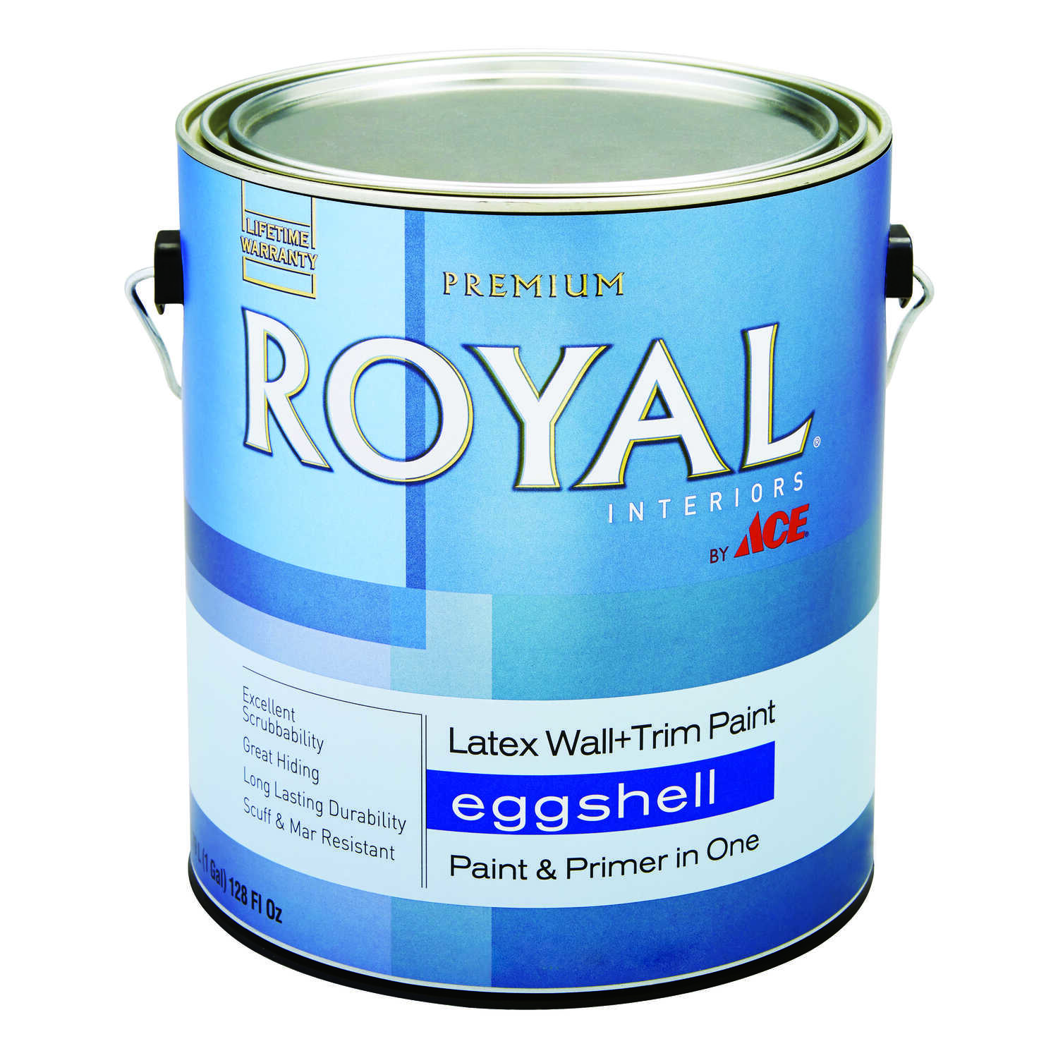 Ace  Royal  Eggshell  High Hiding White  Vinyl Acetate/Ethylene  Interior Latex Wall+Trim Paint  1 g