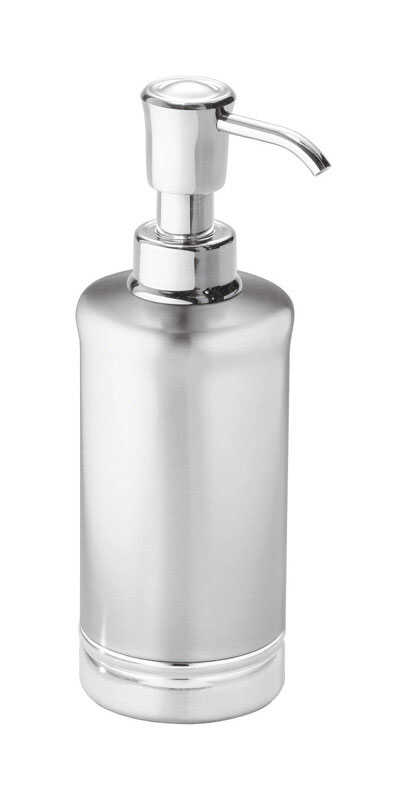 InterDesign  York Metal  Soap Dispenser  8.25 in. H x 3-1/2 in. W x 3-1/2 in. L Stainless Steel  Sil