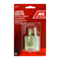 Ace  Grounded  1 outlets Adapter w/Light  1 pk