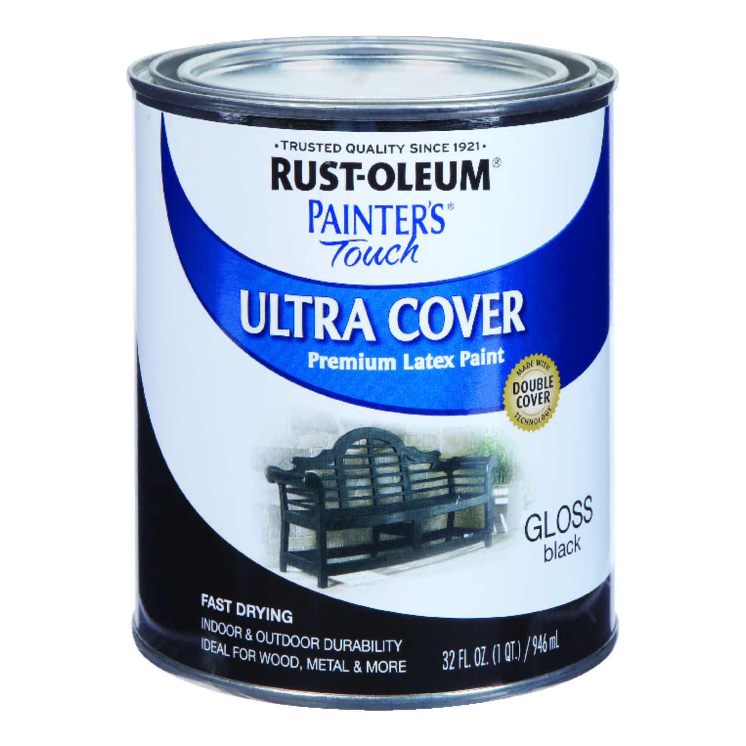 Rust-Oleum  Painters Touch Ultra Cover  Gloss  Black  Paint  1 qt. Indoor and Outdoor