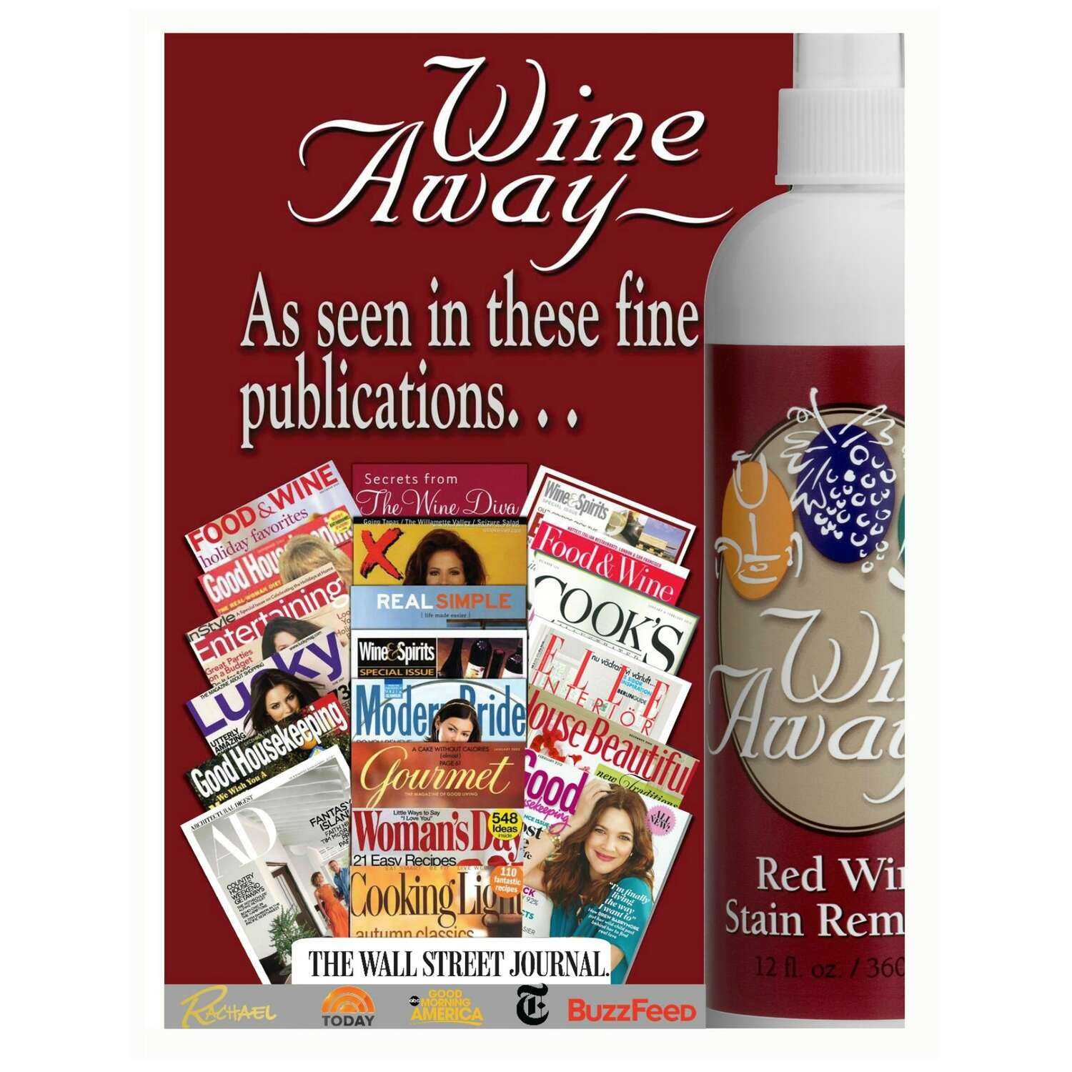 Wine Away  Citrus Scent Red Wine Stain Remover  Liquid  12 oz.