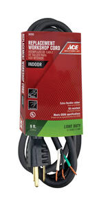 Ace  16/3 SJO  125 volt 9 ft. L Appliance Cord