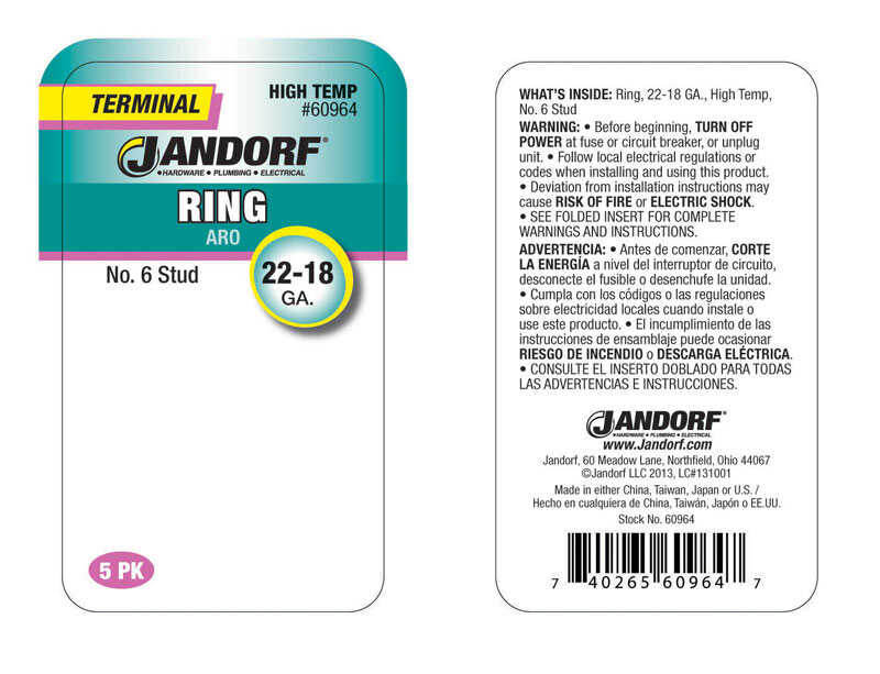 Jandorf  22-18 Ga. Insulated Wire  Terminal Ring  Silver  5 pk