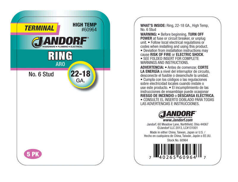 Jandorf  22-18 Ga. Terminal Ring  5 pk Insulated Wire