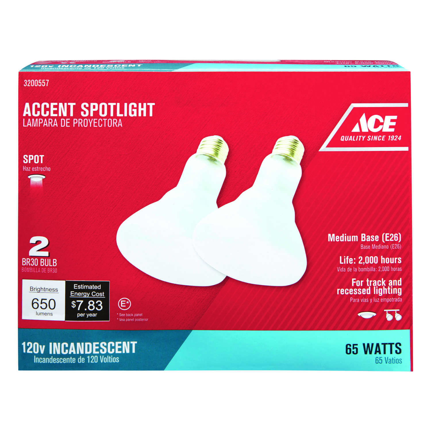 Ace  65 watts BR30  Spotlight  Incandescent Bulb  E26 (Medium)  Soft White  2 pk