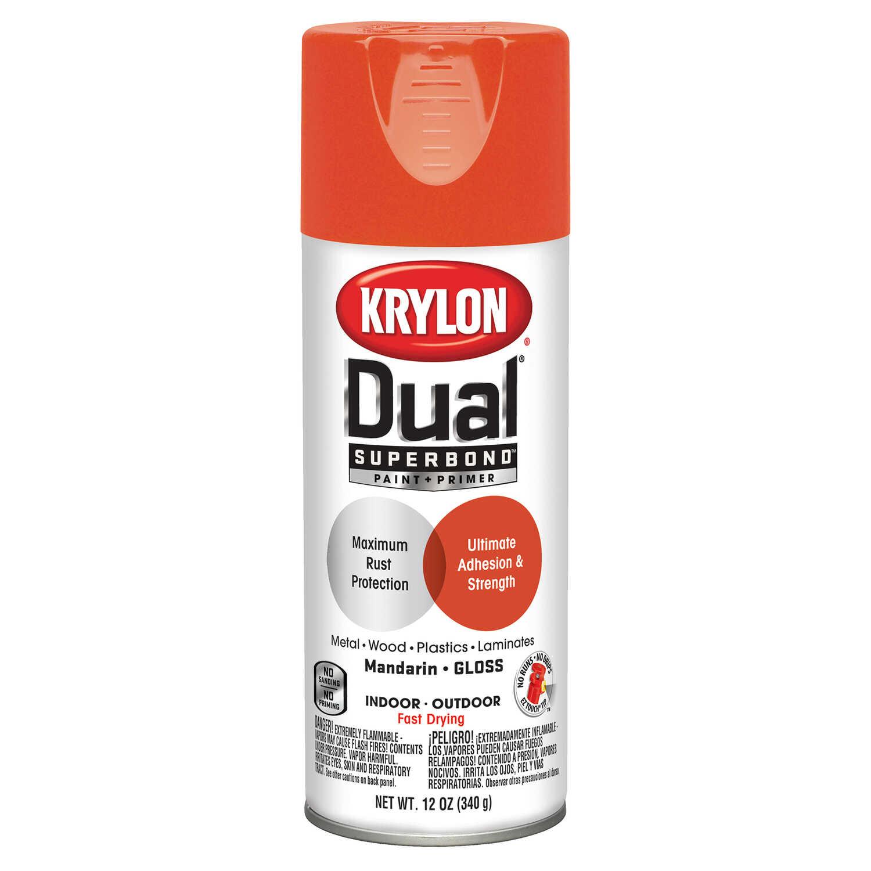 Krylon Dual Gloss Mandarin Paint + Primer Spray Paint 12 oz