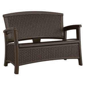 Suncast  Elements  Wicker  Storage Bench  Resin  35.5 in. H x 47 in. L x 29.75 in. D