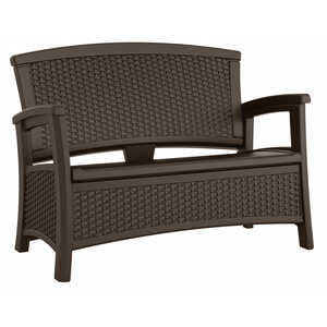 Suncast  Elements  Plastic  35-1/2 in. H x 29.75 in. D x 47 in. W Brown  Storage Seat  Resin Wicker